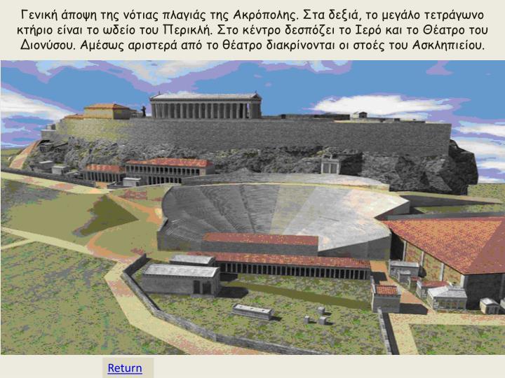 Γενική άποψη της νότιας πλαγιάς της Ακρόπολης. Στα δεξιά, το μεγάλο τετράγωνο κτήριο είναι το ωδείο του Περικλή. Στο κέντρο δεσπόζει το Ιερό και το Θέατρο του Διονύσου. Αμέσως αριστερά από το θέατρο διακρίνονται οι στοές του Ασκληπιείου.
