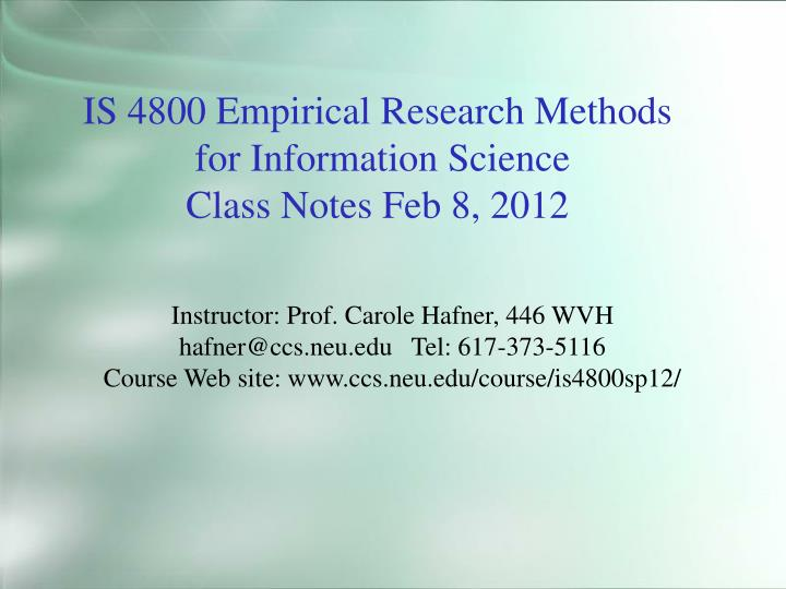 IS 4800 Empirical Research Methods