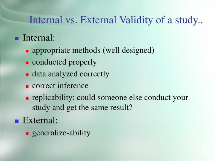 Internal vs. External Validity of a study..