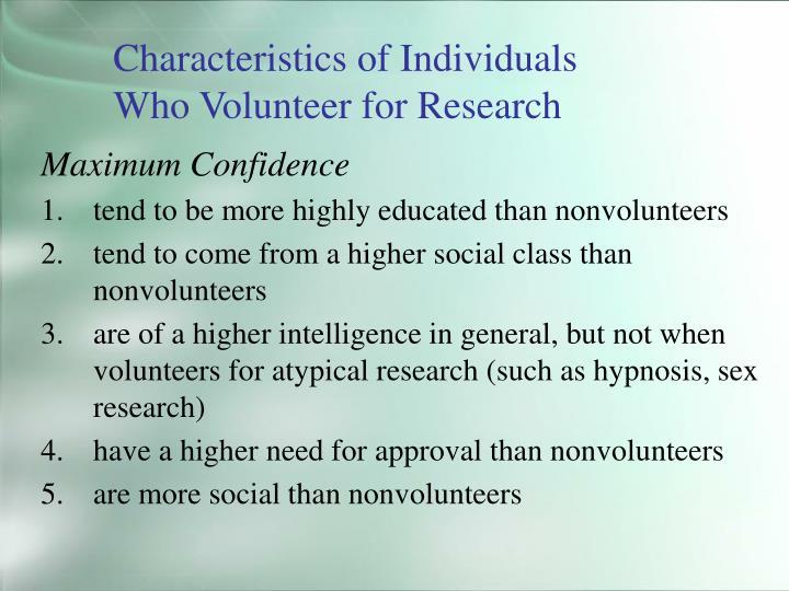 Characteristics of Individuals