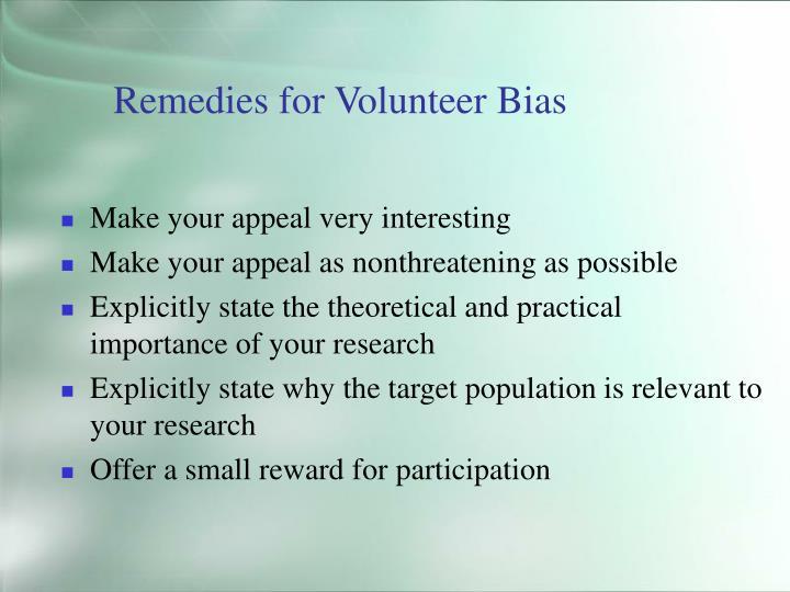 Remedies for Volunteer Bias
