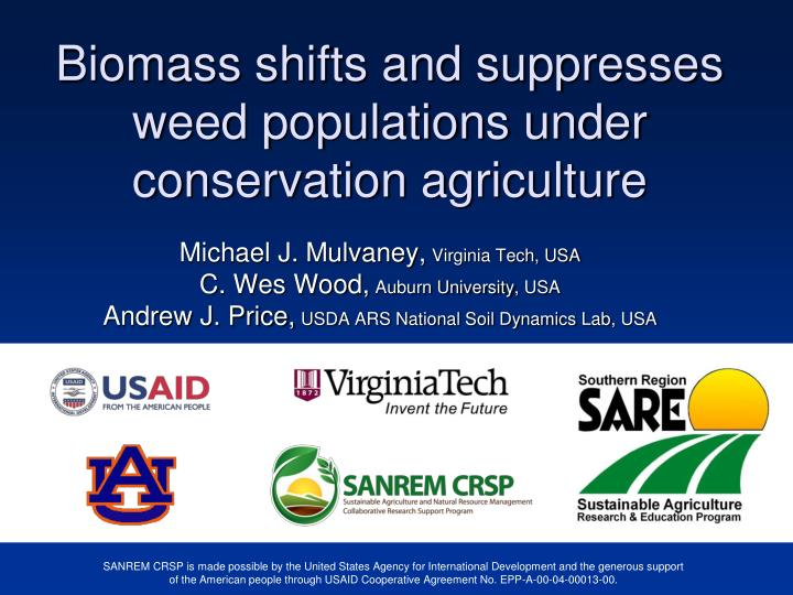 biomass shifts and suppresses weed populations under conservation agriculture