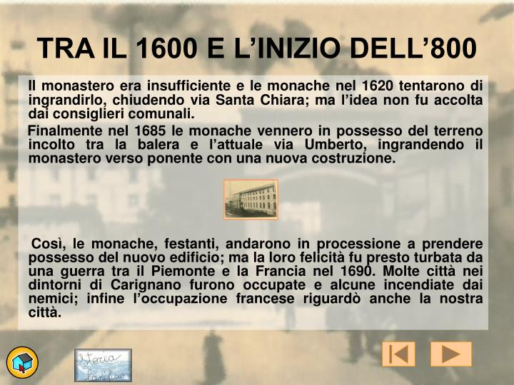 TRA IL 1600 E L'INIZIO DELL'800
