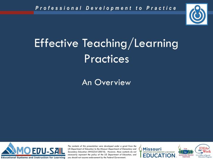 effective teaching learning practices n.