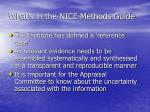 what s in the nice methods guide