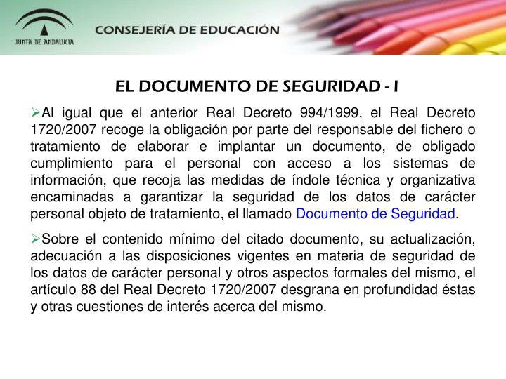 EL DOCUMENTO DE SEGURIDAD - I