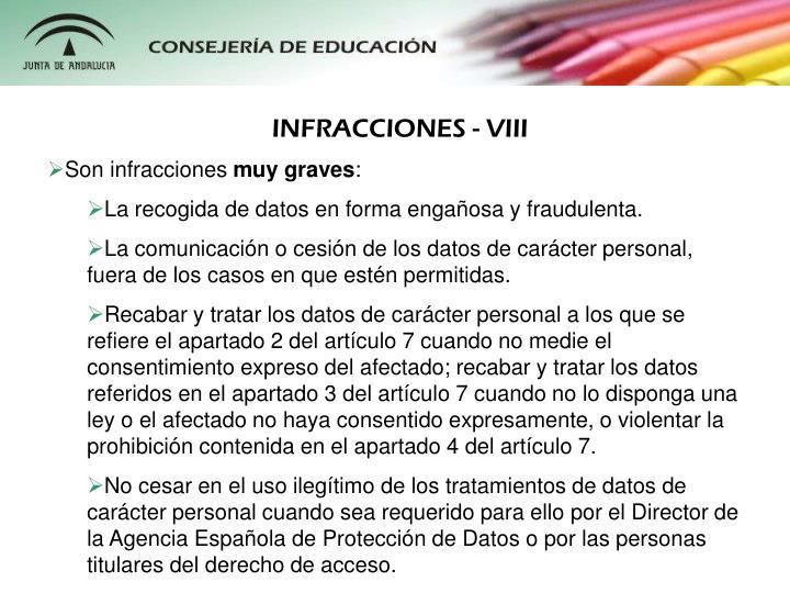 INFRACCIONES - VIII