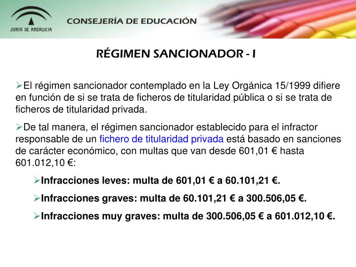 RÉGIMEN SANCIONADOR - I