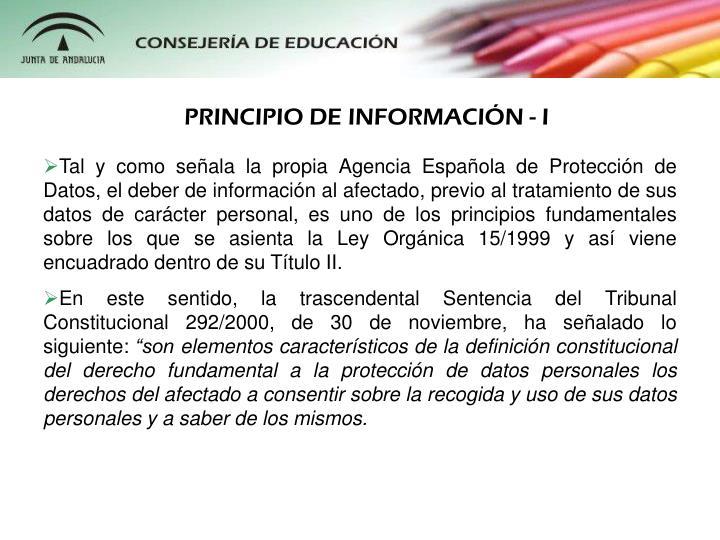 PRINCIPIO DE INFORMACIÓN - I