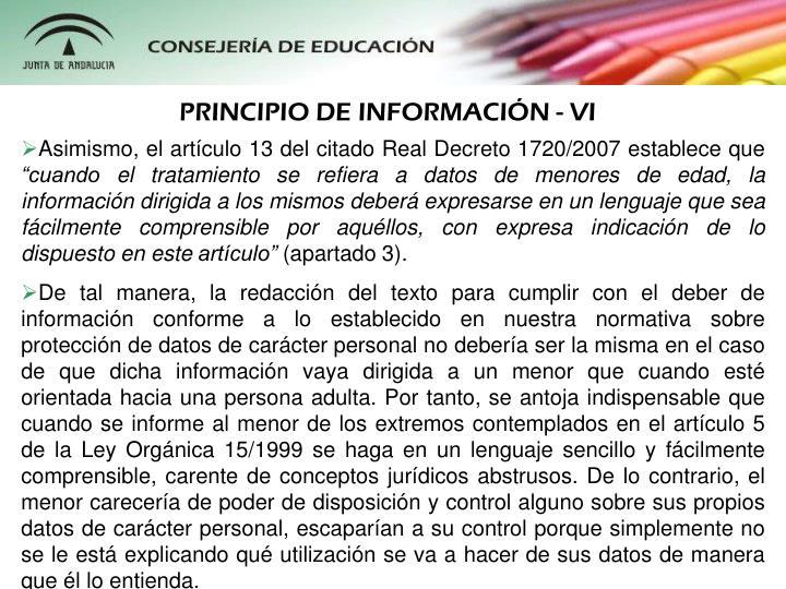 PRINCIPIO DE INFORMACIÓN - VI
