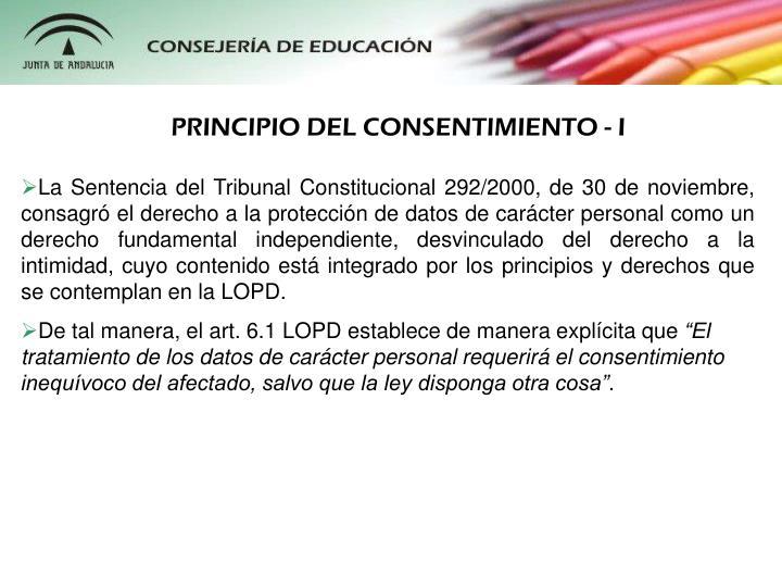 PRINCIPIO DEL CONSENTIMIENTO - I