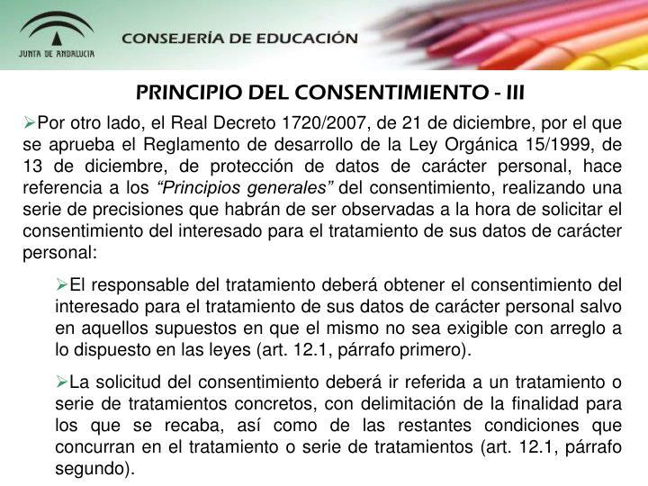 PRINCIPIO DEL CONSENTIMIENTO - III