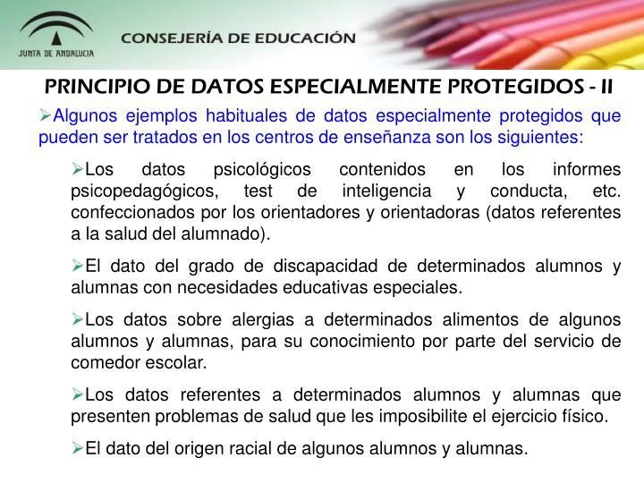 PRINCIPIO DE DATOS ESPECIALMENTE PROTEGIDOS - II