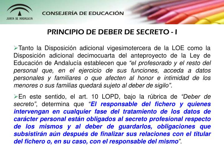PRINCIPIO DE DEBER DE SECRETO - I