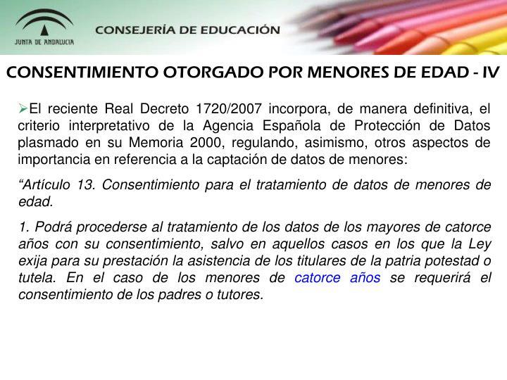 CONSENTIMIENTO OTORGADO POR MENORES DE EDAD - IV