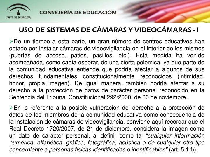 USO DE SISTEMAS DE CÁMARAS Y VIDEOCÁMARAS - I
