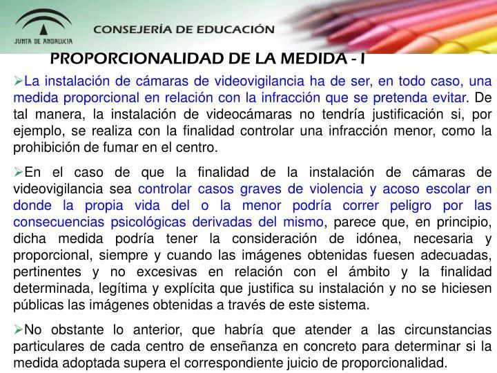 PROPORCIONALIDAD DE LA MEDIDA - I