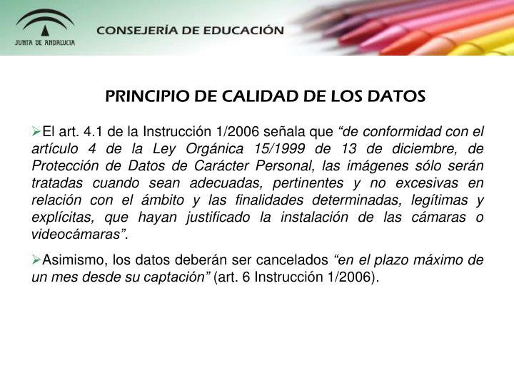 PRINCIPIO DE CALIDAD DE LOS DATOS