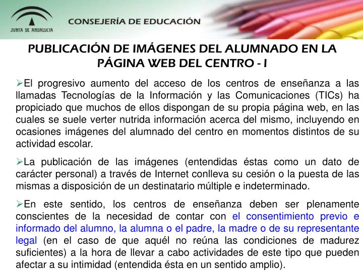 PUBLICACIÓN DE IMÁGENES DEL ALUMNADO EN LA PÁGINA WEB DEL CENTRO - I
