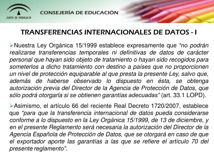 TRANSFERENCIAS INTERNACIONALES DE DATOS - I