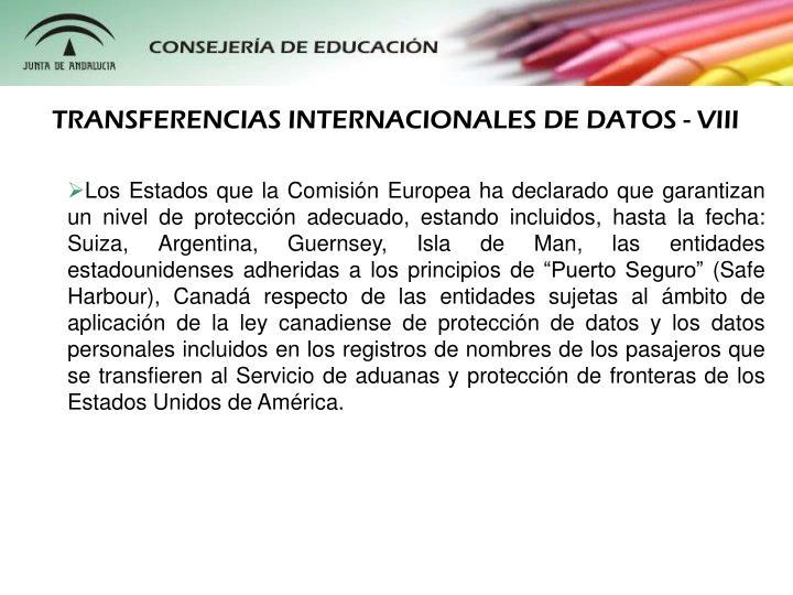 TRANSFERENCIAS INTERNACIONALES DE DATOS - VIII