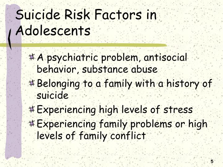 many factors in adolescent suicide Nmha identifies feelings of anger and resentment and the inability to see beyond a temporary situation as the main factors in teen suicide attempts kidshealth quotes.