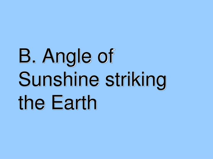 B. Angle of Sunshine striking the Earth