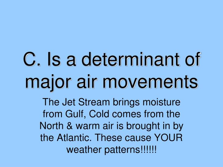 C. Is a determinant of major air movements