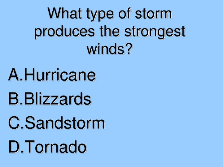 What type of storm produces the strongest winds?