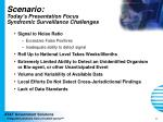 scenario today s presentation focus syndromic surveillance challenges