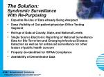 the solution syndromic surveillance with re purposing