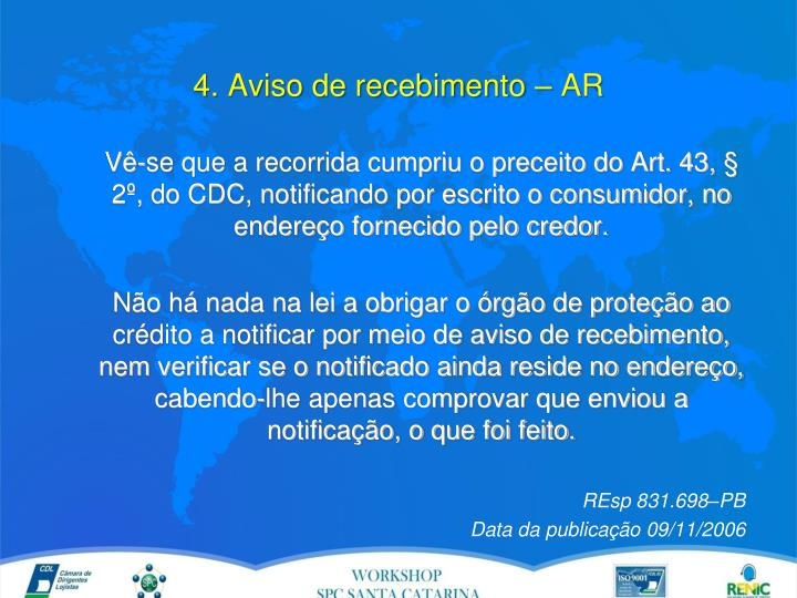 4. Aviso de recebimento – AR