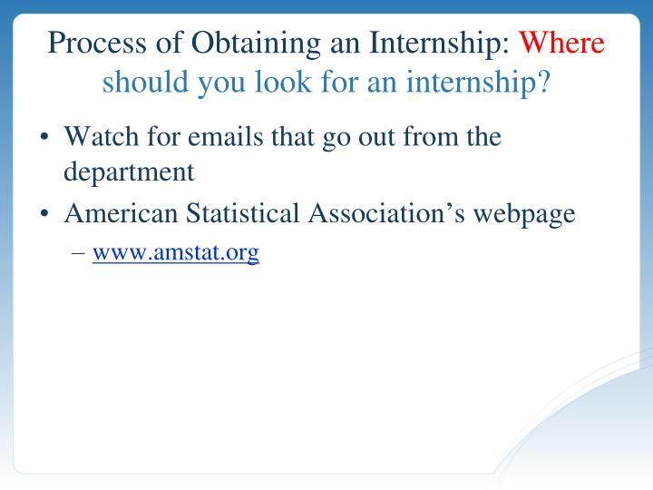 Process of Obtaining an Internship: