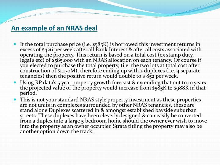 An example of an NRAS deal