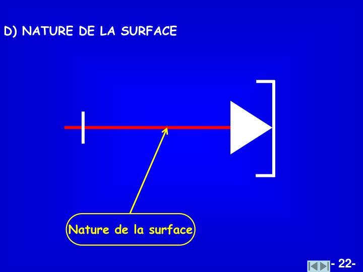 Nature de la surface