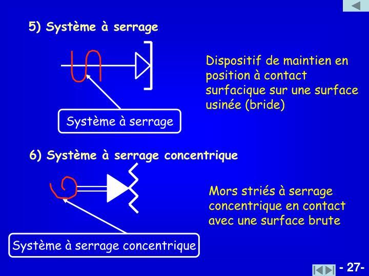 5) Système à serrage