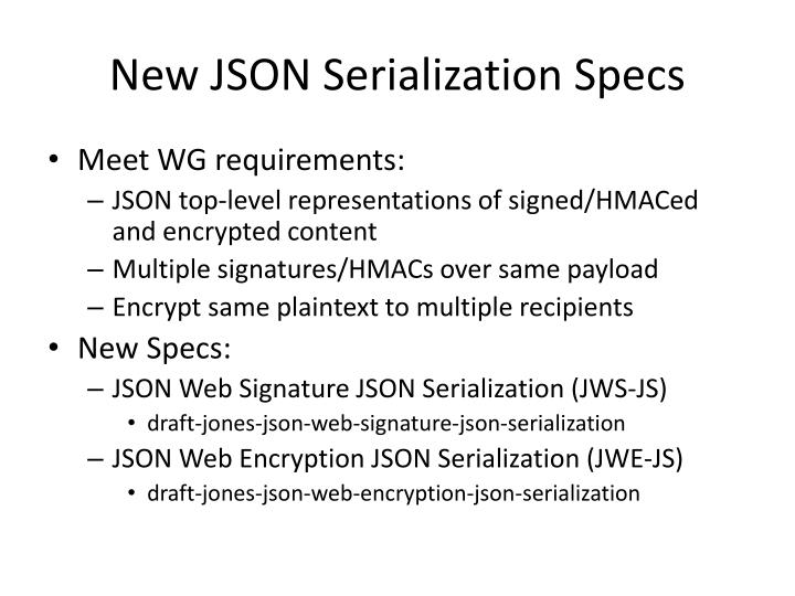 New json serialization specs