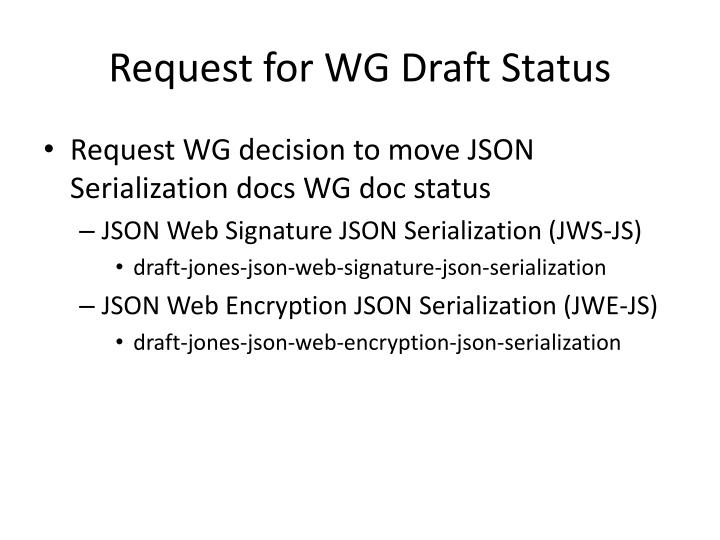 Request for WG Draft Status