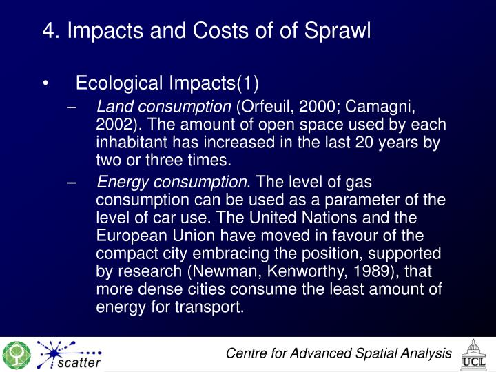 4. Impacts and Costs of of Sprawl