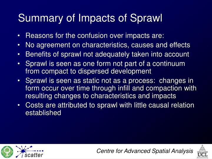 Summary of Impacts of Sprawl