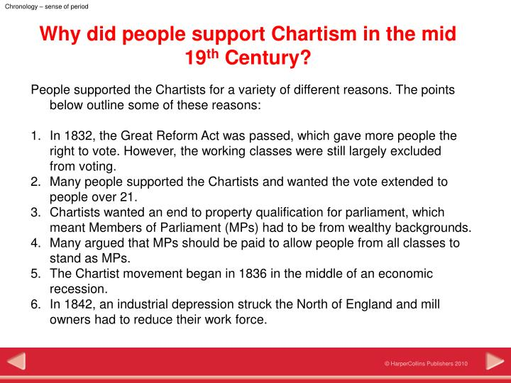 essay on chartism Chartism was a working-class movement for political reform in britain that existed from 1838 to and the romance of politics (2003) thompson, dorothy.