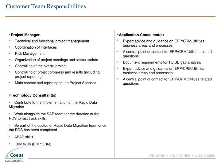 Customer Team Responsibilities