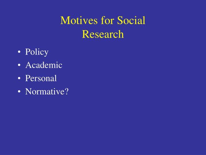 Motives for Social