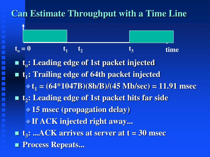 Can Estimate Throughput with a Time Line