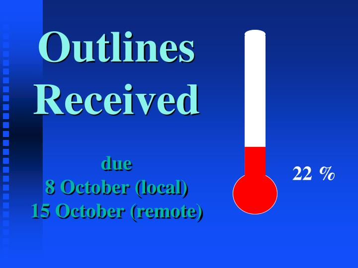 Outlines received due 8 october local 15 october remote
