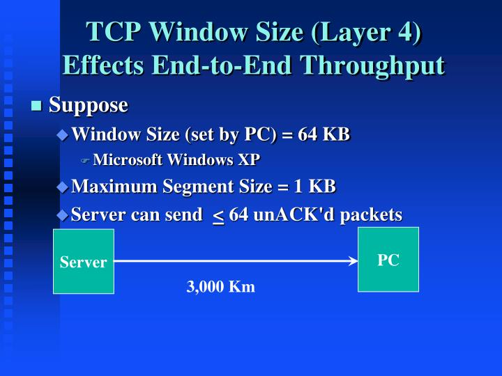 TCP Window Size (Layer 4) Effects End-to-End Throughput
