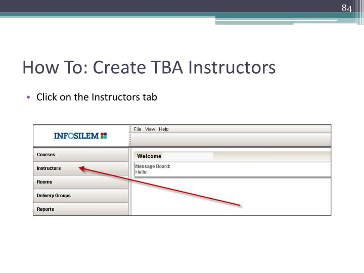 How To: Create TBA Instructors