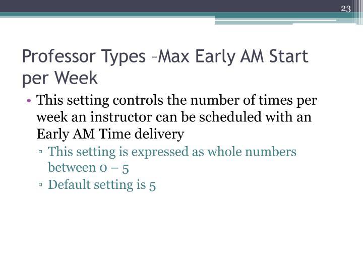 Professor Types –Max Early AM Start per Week