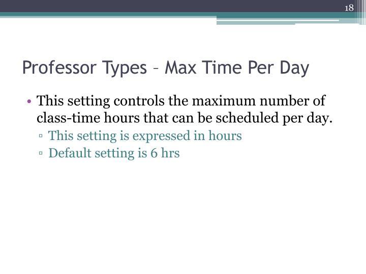 Professor Types – Max Time Per Day