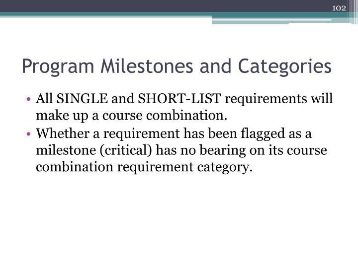 Program Milestones and Categories
